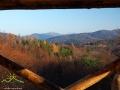 Widok z drugiego poziomu wieży widokowej na Przełęczy Przysłup znajdującej się przy drodze z Cisnej do Komańczy.