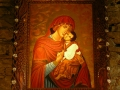 Ikona Matki Boskiej Łopieńskiej w Łopience z pracowni ikon w Cisnej.