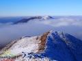 Połonina Wetlińska otoczona mgłą podczas inwersji w Bieszczadach.