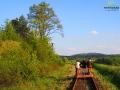 Drezynami rowerowymi po torach na dawnej trasie Zagórz - Ustrzyki Dolne.