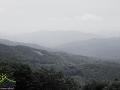 Widok z pasma granicznego w stronę gór w Parku Narodowym POŁONINY na Słowacji.