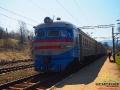 Pociąg na stacji kolejowej w Wołosiance Zakarpaciej - jest zwany elektriczką.