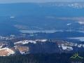 ZAPORA WODNA w Solinie oraz Polańczyk widziane ze szczytu Korbani 894m.