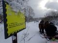 Na szlaku Dobrego Wojaka Szwejka podczas kuligu. Zachęcamy przeczytać cytat z książki na tablicy... ;-)