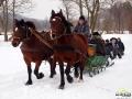 Kulig z końmi po Bieszczadach - jeszcze chwila i wieczór, pochodnie, ognisko, grzaniec...