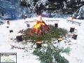 Wokół ogniska ustawiliśmy pieńki, na których można usiąść do pieczenia kiełbasek, a osobno posiadamy rozkładane ławki.
