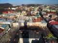 Widok z ratusza na rząd najsłynniejszych kamienic, kościół dominikanów, cerkiew przemienienia pańskiego, Wysoki Zamek...