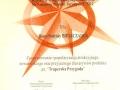 Certyfikat za NAJLEPSZY PRODUKT TURYSTYCZNY PODKARPACIA 2012