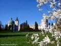 Zamek w Krasiczynie wiosną (widok od stawu górnego z magnoliami).