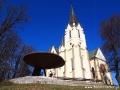 Mariańska Hora, czyli Bazylika Najświętrzej Maryi Panny widziana podczas przejazdu przez Levoczę.