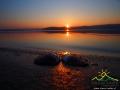 Muszla po małży w promieniach zachodzącego słońca nad Zalewem Solińskim.