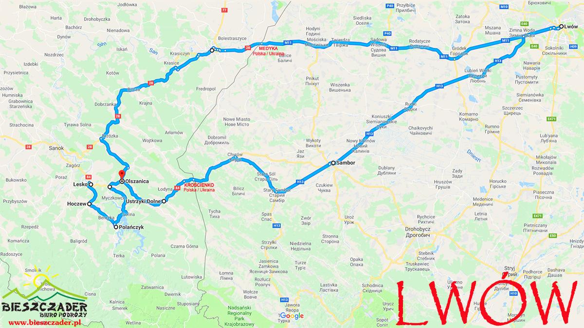 MAPA przedstawiająca orientacyjną trasę wycieczki jednodniowej z Bieszczad do Lwowa.