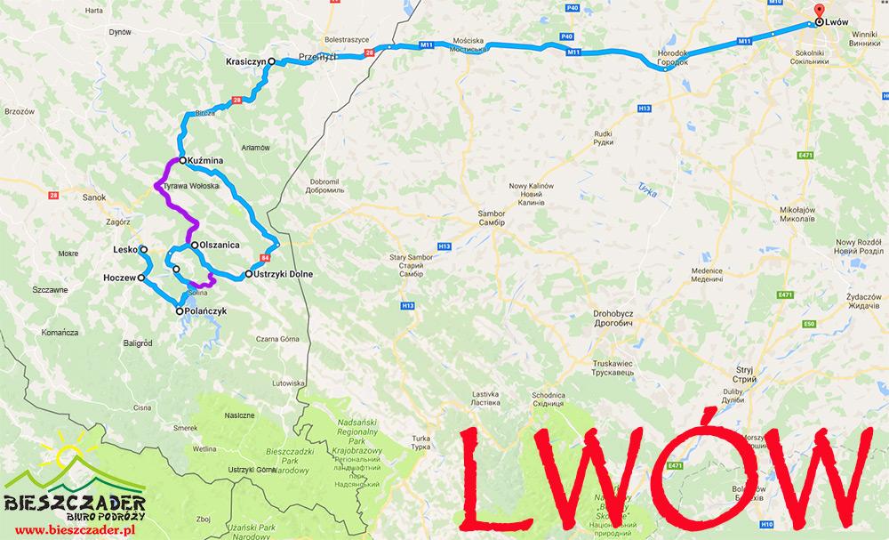 Mapa wycieczki jednodniowej z Bieszczad do Lwowa.