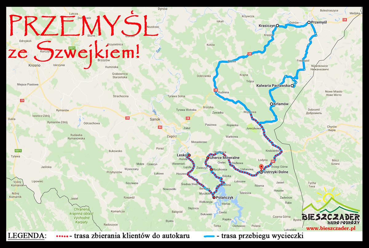 MAPA wycieczki oraz trasa zbierania klientów na wycieczkę 1-dniową PRZEMYŚL ze Szwejkiem! po Pogórzu Przemyskim.