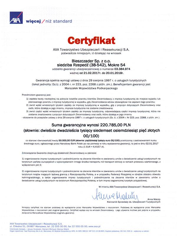 CERTYFIKAT gwarancji ubezpieczeniowej dla Biura Podróży BIESZCZADER 21.02.2017 do 20.01.2018