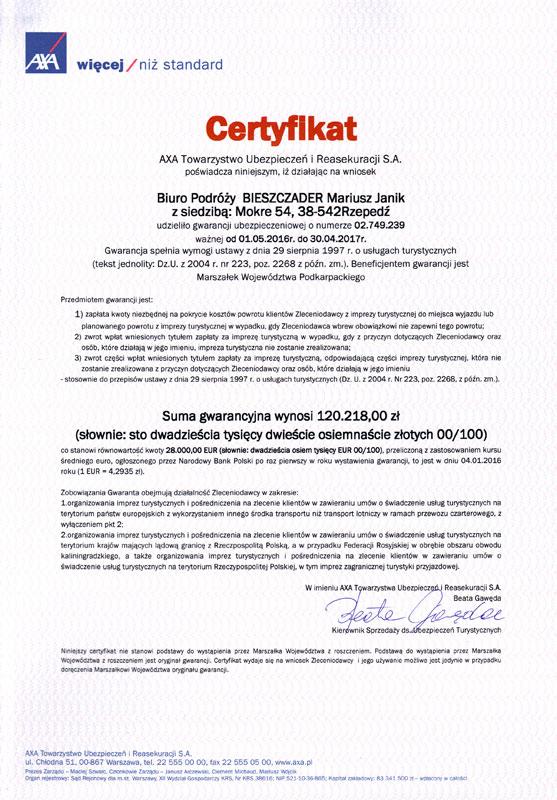 Certyfikat TU AXA dot. Gwarancji Ubezpieczeniowej 1.05.2016 - 30.04.2017