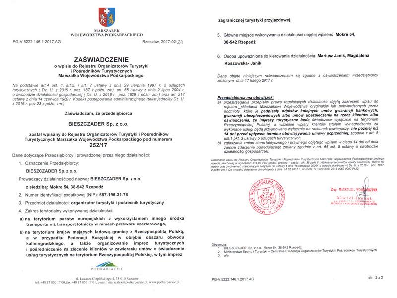 ZAŚWIADCZENIE o wpisie do Rejestru Organizatorów Turystyki Marszałka Województwa Podkarpackiego