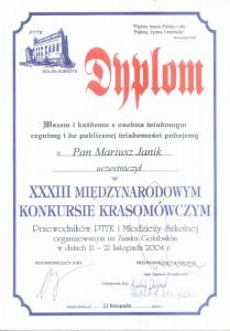 Dyplom z Międzynarodowego Konkursu Krasomówczego właściciela biura Mariusza Janika.