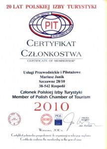 Certyfikat przynależności do POLSKIEJ IZBY TURYSTYKI