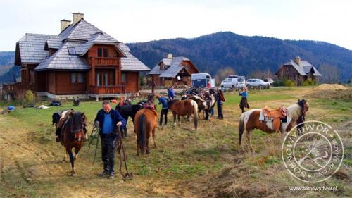 SOSNOWY DWÓR Krzywe - noclegi w drewnianych chatach z klimatem z widokiem na połoniny i rajdy konne