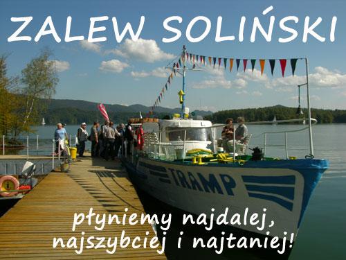 Rejsy statkiem TRAMP po Zalewie Solińskim Polańczyk
