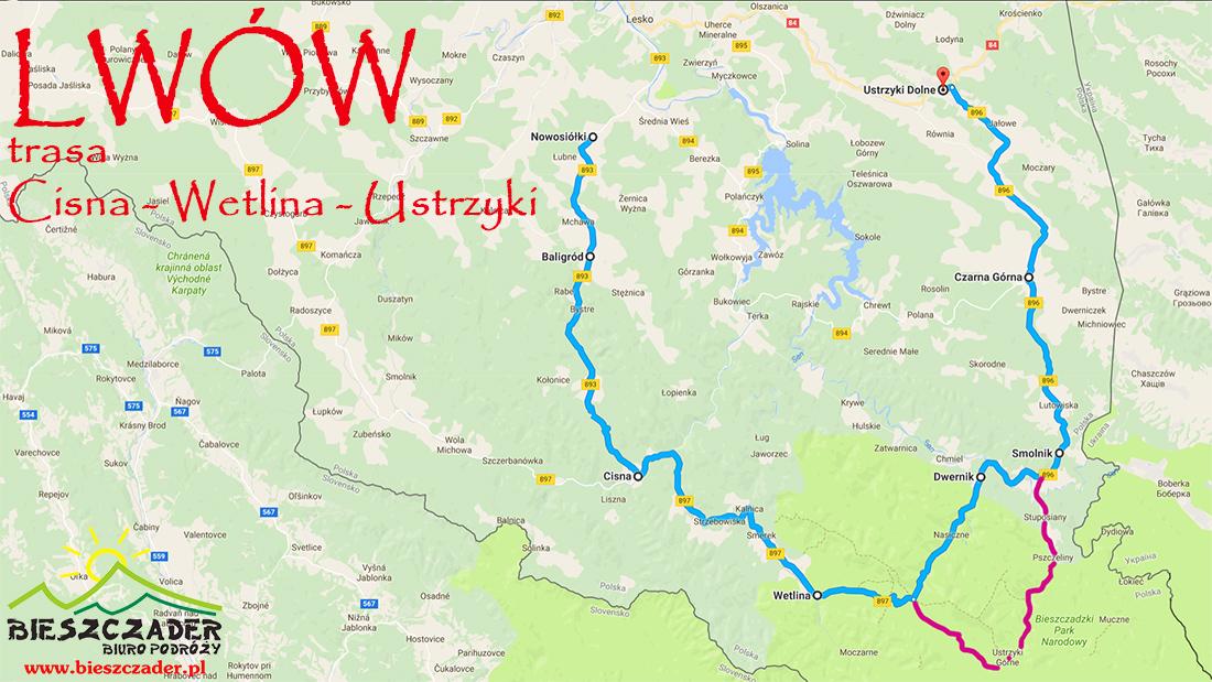 Mapa TRASY PRZEZ GÓRY: Baligród - Cisna - Wetlina - Ustrzyki - Czarna na wycieczkę jednodniową do Lwowa z Bieszczad.