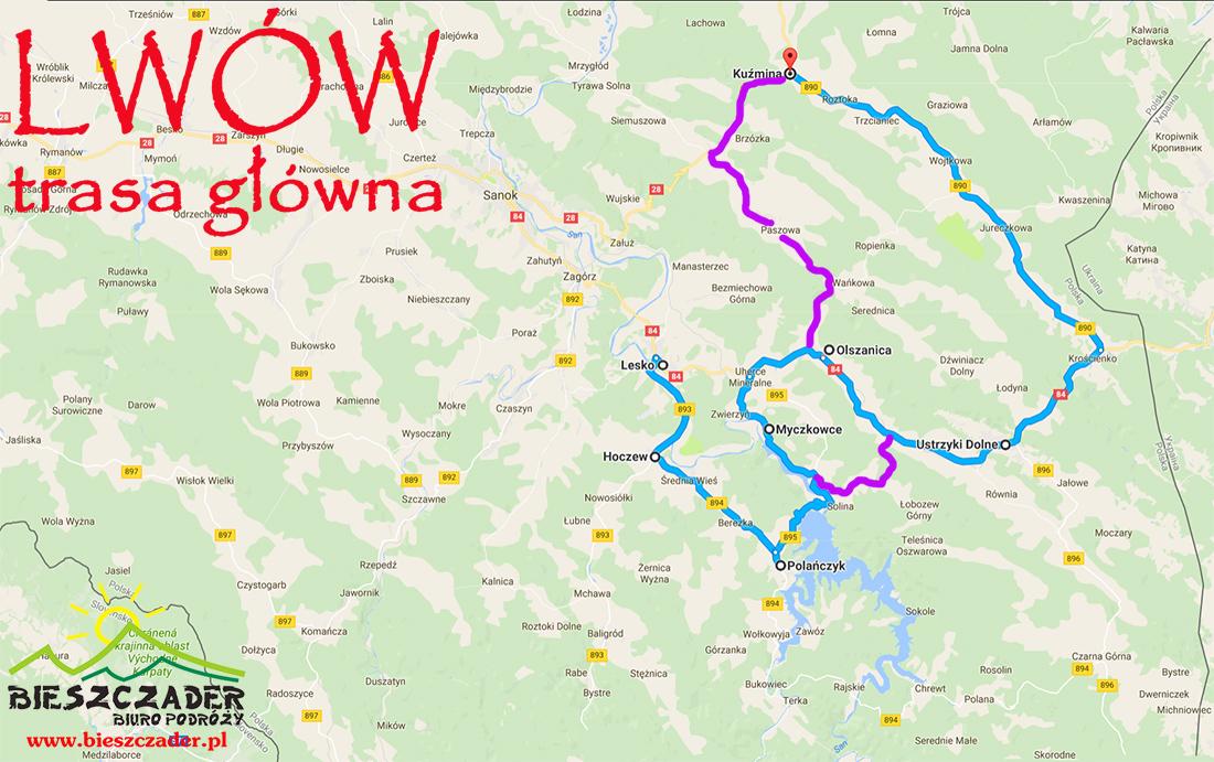 Mapa GŁÓWNEJ TRASY autokaru jadącego na wycieczkę 1-dniową z Bieszczad do Lwowa.