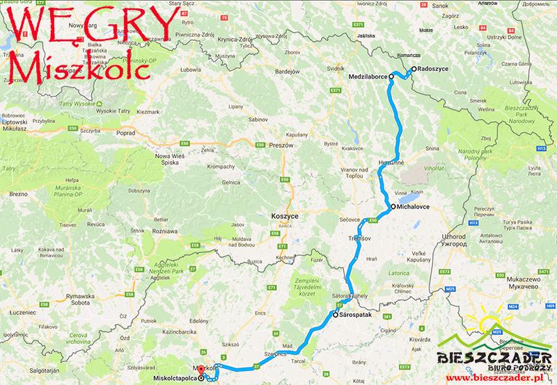 Trasa wycieczki jednodniowej z Bieszczad na WĘGRY do Miszkolca przez Słowację.