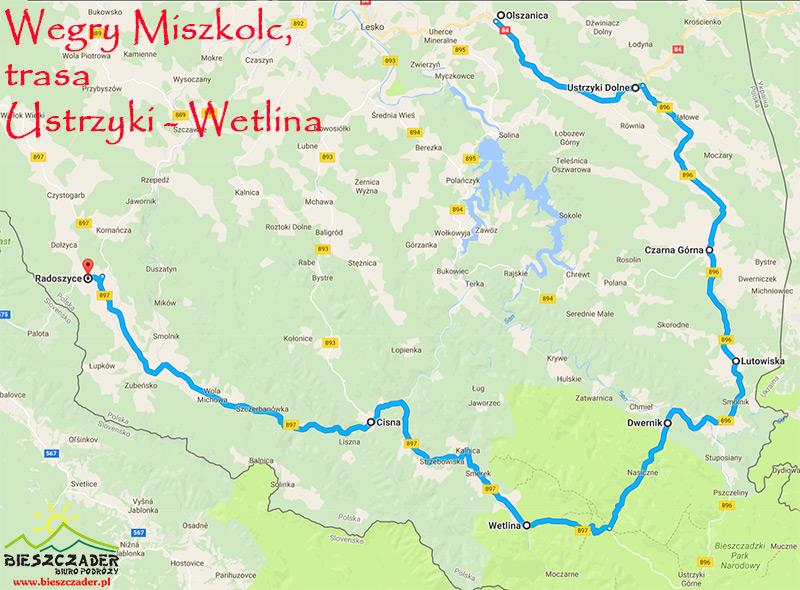 Mapa wycieczki Węgry Miszkolc, trasa przejazdu autokaru USTRZYKI - WETLINA