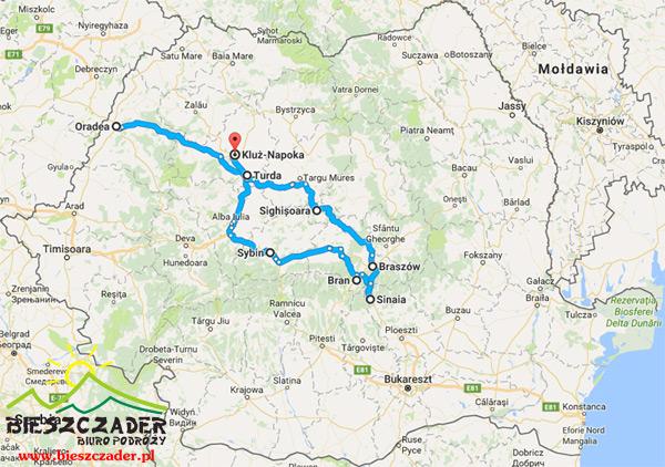Mapa RUMUNIA Transylwania na wycieczkach 4, 5 i 6 dni z BP Bieszczader