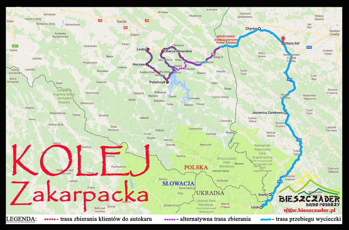 Mapa zbierania klientów oraz trasa przebiegu wycieczki jednodniowej autokarowej KOLEJ ZAKARPACKA w Bieszczady ukraińskie.