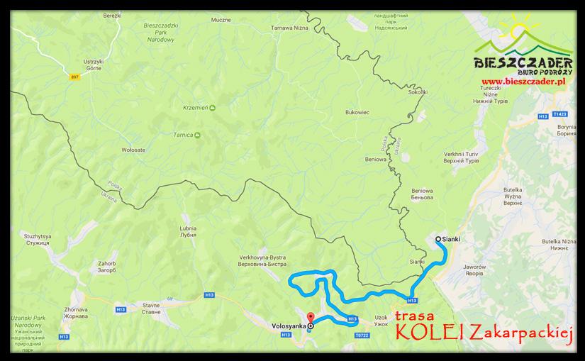 Trasa przejazdu KOLEI ZAKARPACKIEJ na trasie Sianki - Wołosianka w Bieszczadach Ukraińskich
