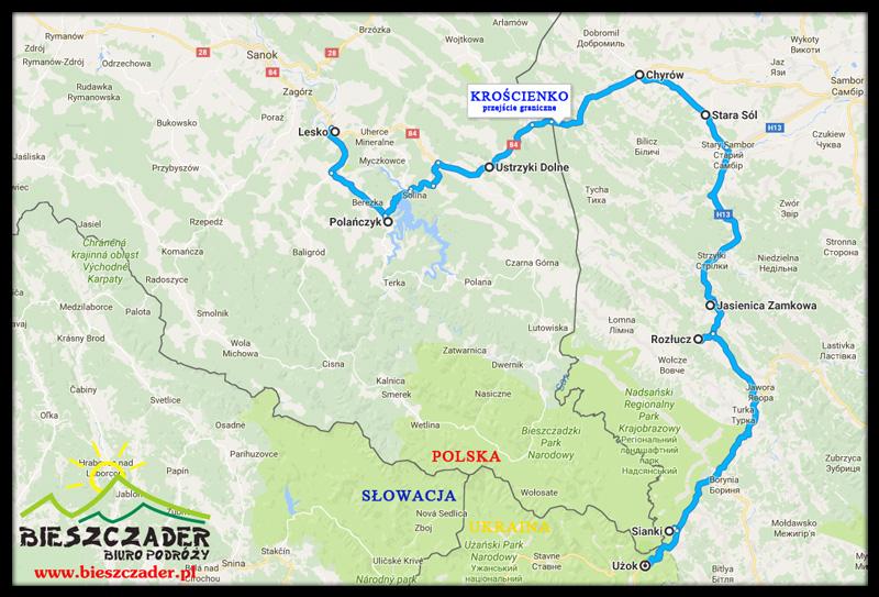 Trasa wycieczki KOLEJ ZAKARPACKA Sianki-Wołosianka oraz Chyrów, Stara Sól, Jasienica Zamkowa...