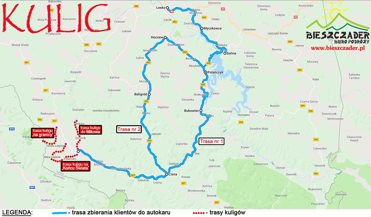 Trasy najdłuższych i najbardziej widokowych KULIGÓW w Bieszczadach organizowanych przez Biuro Podróży Bieszczader wraz z trasą zbierania klientów indywidualnych do autokaru.