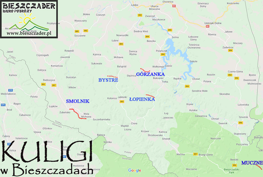 Mapa przedstawiająca wszystkie kuligi w Bieszczadach z mniej więcej długością tras.
