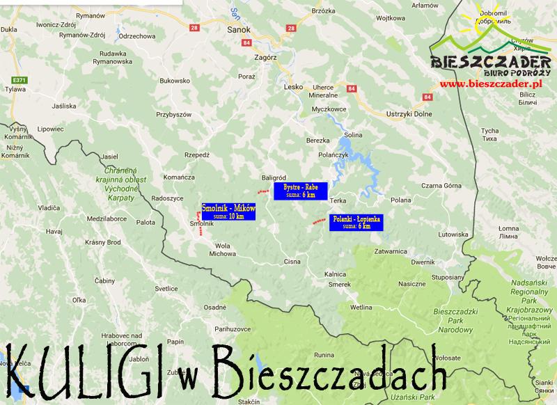 KULIGI w Bieszczadach: Smolnik koło Komańczy, Rabe koło Baligrodu, Łopienka.