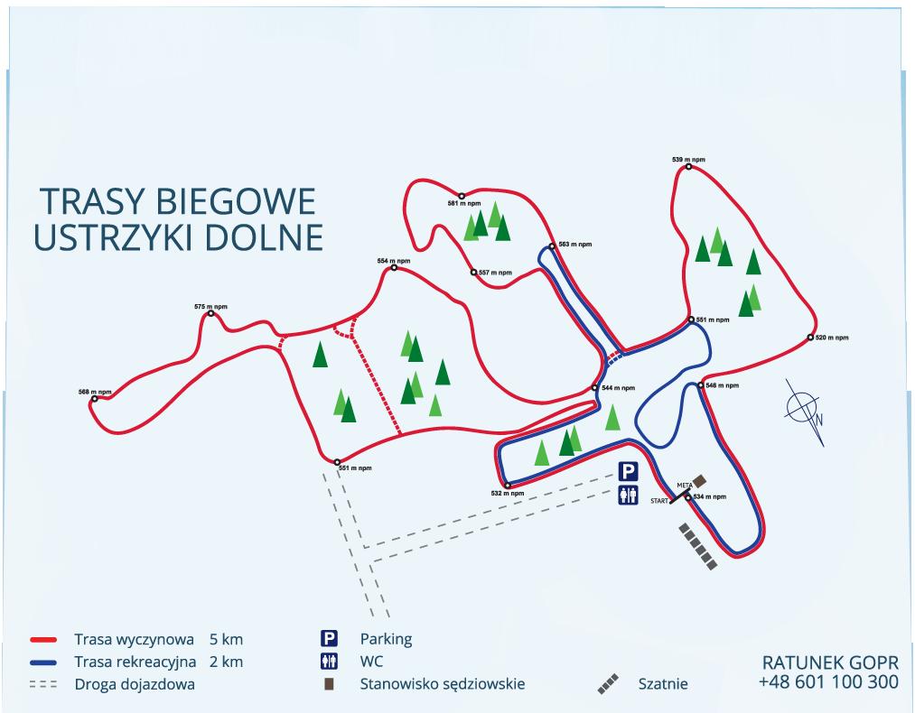Trasy na narty biegowe w Ustianowej koło Ustrzyk Dolnych.