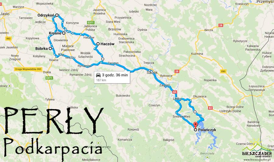 MAPA wycieczki PERŁY PODKARPACIA - Bóbrka, Krosno, Odrzykoń, Haczów
