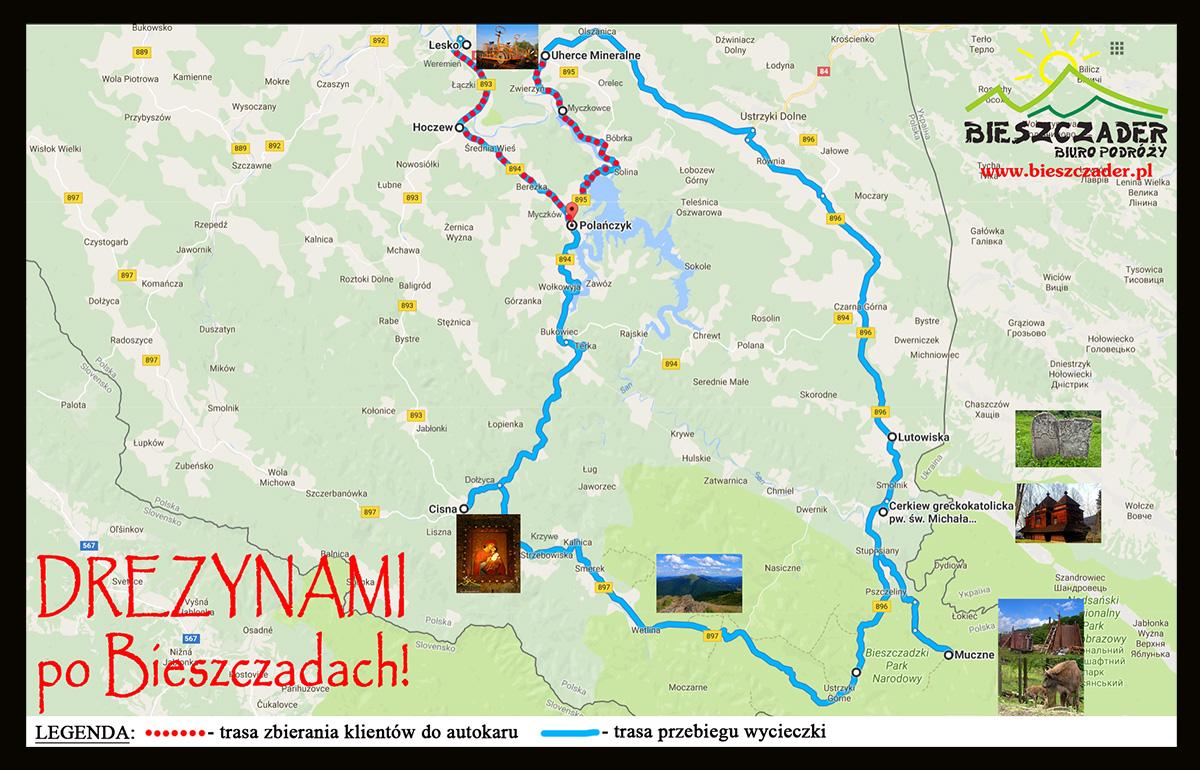 MAPA trasy zbierania klientów oraz przebiegu wycieczki 1-dniowej DREZYNAMI po Bieszczadach! z najważniejszymi atrakcjami na Wielkiej Obwodnicy.