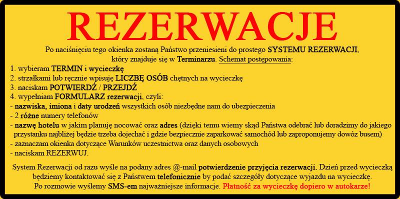 SYSTEM REZERWACJI wycieczek 1-dniowych Biura Podróży Bieszczader z Bieszczad.
