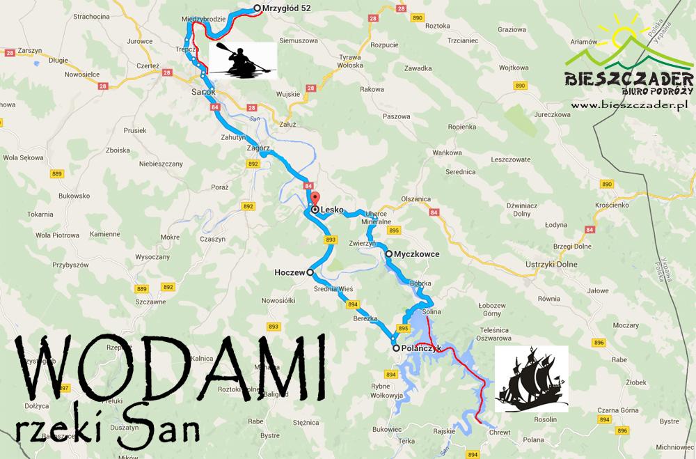 MAPA wycieczki WODAMI rzeki San - kajaki, karmel w Zagórzu, rejs statkiem po całym Zalewie Solińskim z degustacją win węgierskich!