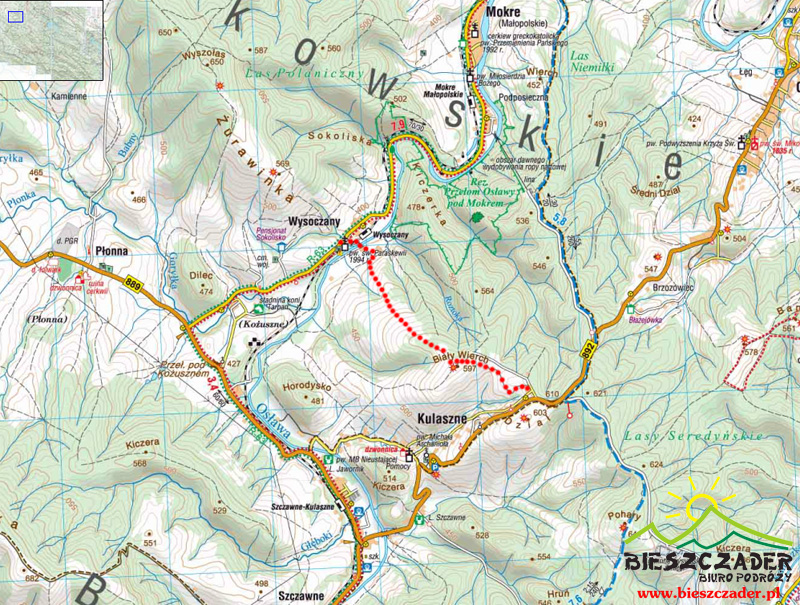 Mapa trasy na RAKIETACH ŚNIEŻNYCH z Kulasznego przez Biały Wierch 597m do Wysoczan, czyli z Bieszczad do Beskidu Niskiego!