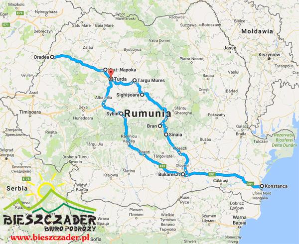 Mapa Rumunia Transylwania - MORZE CZARNE - Bukareszt, wycieczka 8 dni Biura Podróży BIESZCZADER