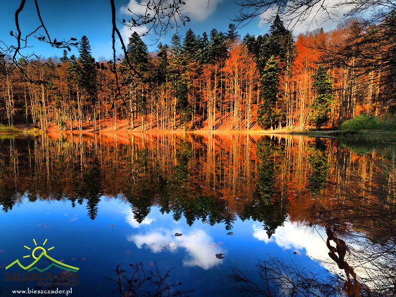 Górne JEZIORKO DUSZATYŃSKIE w rezerwacie Zwiezło na stokach góry Chryszczata 997m.
