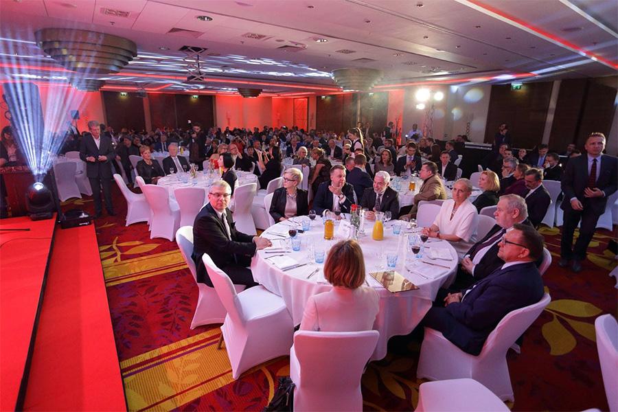 Sala Hotelu Mariot w Warszawie podczas wręczania nagród na Najlepszy Produkt Turystyczny Polski 2017.