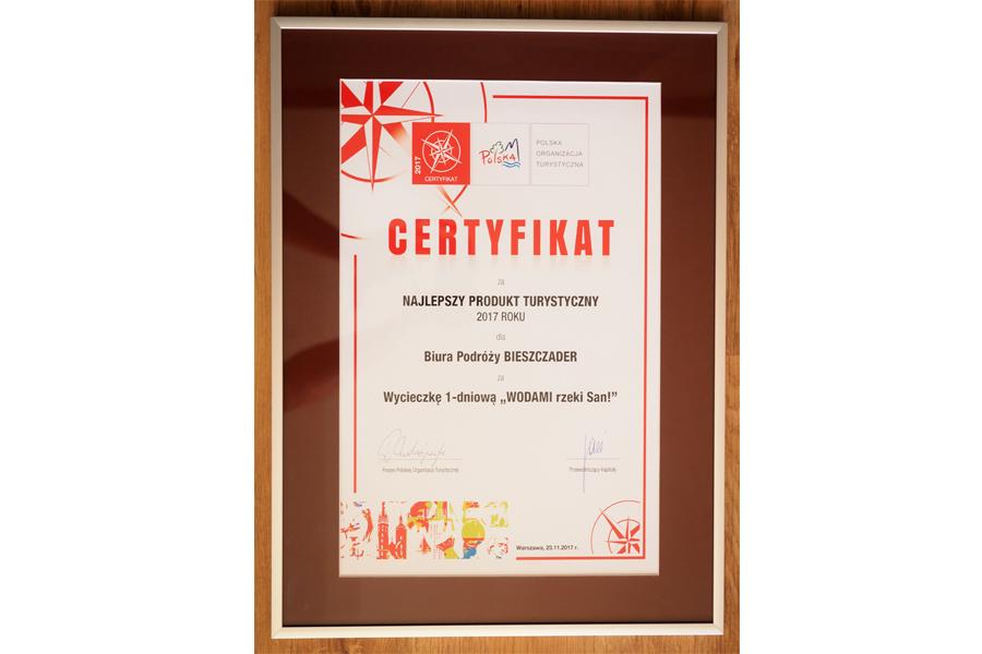 Certyfikat dla wycieczki 1-dniowej WODAMI rzeki San w konkursie na NAJLEPSZY PRODUKT TURYSTYCZNY POLSKI 2017.