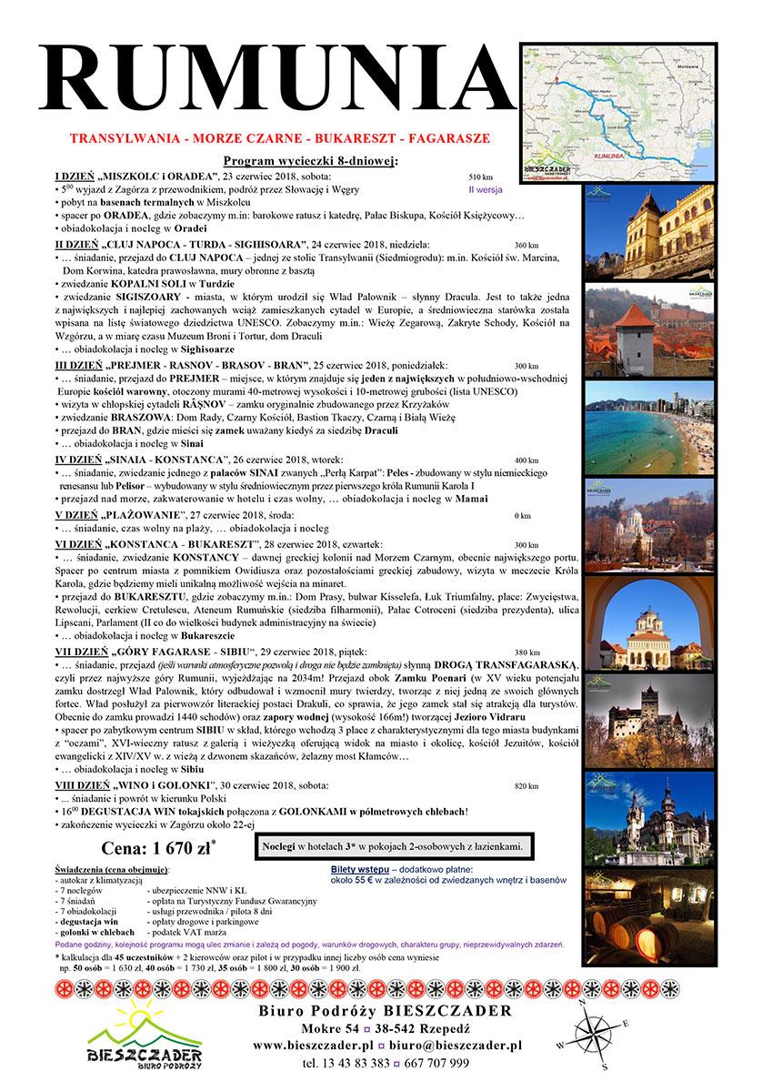 Wycieczka RUMUNIA 8 dni, 23-30 czerwiec 2018, Transylwania - Morze Czarne - Bukareszt - Fagarase