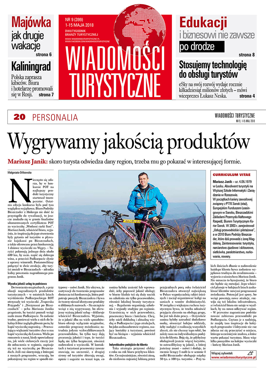 Mariusz Janik - artykuł o osobowości w turystyce w gazecie WIADOMOŚCI TURYSTYCZNE, maj 2018