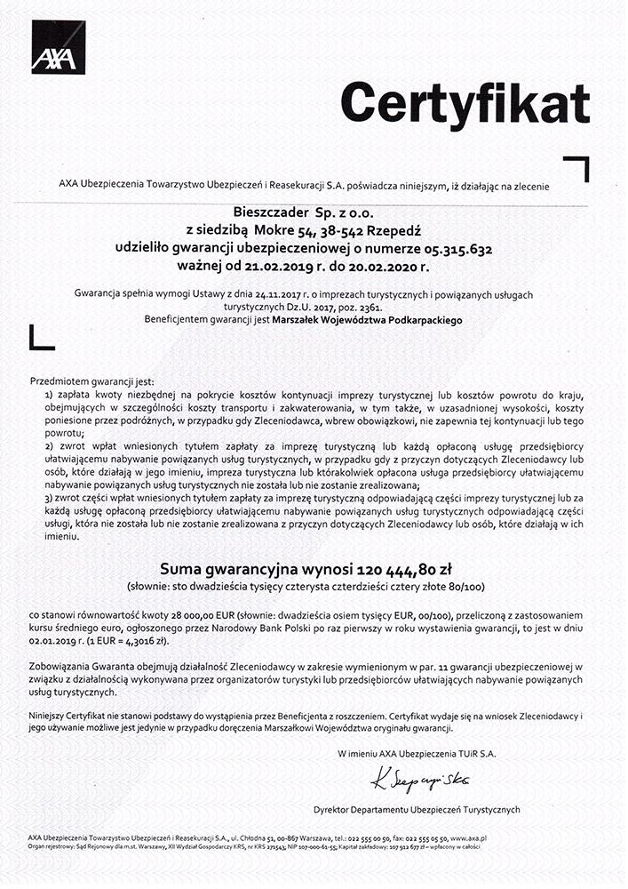 Gwarancja Ubezpieczeniowa 2018 TU AXA