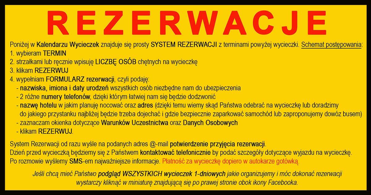 SYSTEM REZERWACJI wycieczek jednodniowych Biura Podróży Bieszczader z Bieszczad.